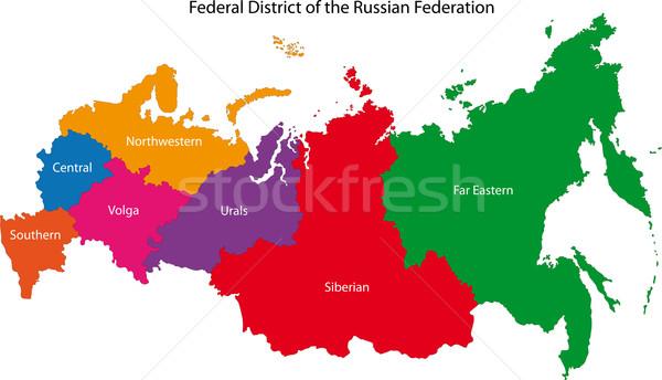 Rusya harita idari rus şehir siluet Stok fotoğraf © Volina