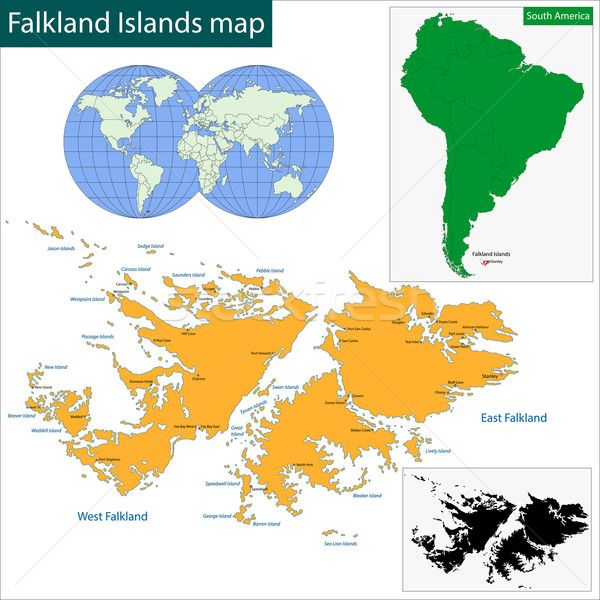 Islas malvinas mapa alto detalle precisión Foto stock © Volina