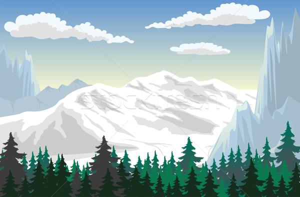горные сцена иллюстрация лес гор пейзаж Сток-фото © Volina