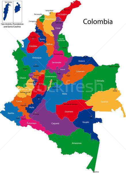 Colombia térkép köztársaság régiók színes fényes Stock fotó © Volina