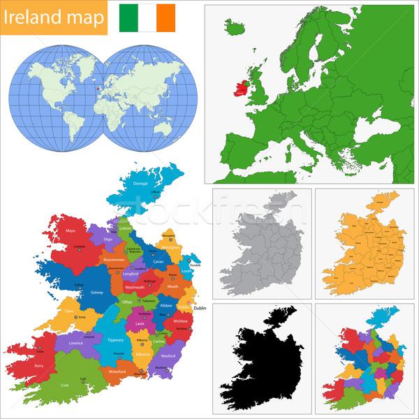 Ирландия карта административный дизайна путешествия острове Сток-фото © Volina