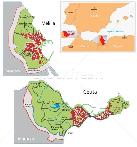 Ceuta and Melilla map Stock photo © Volina