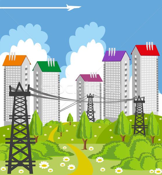 Moderno metrópole desenho animado ilustração cidade poder Foto stock © Volina