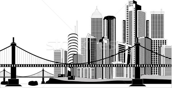Centro da cidade linha do horizonte preto e branco ilustração cityscape água Foto stock © Volina