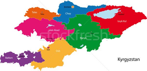 Kirgistan Karte administrative Stadt asian Land Stock foto © Volina