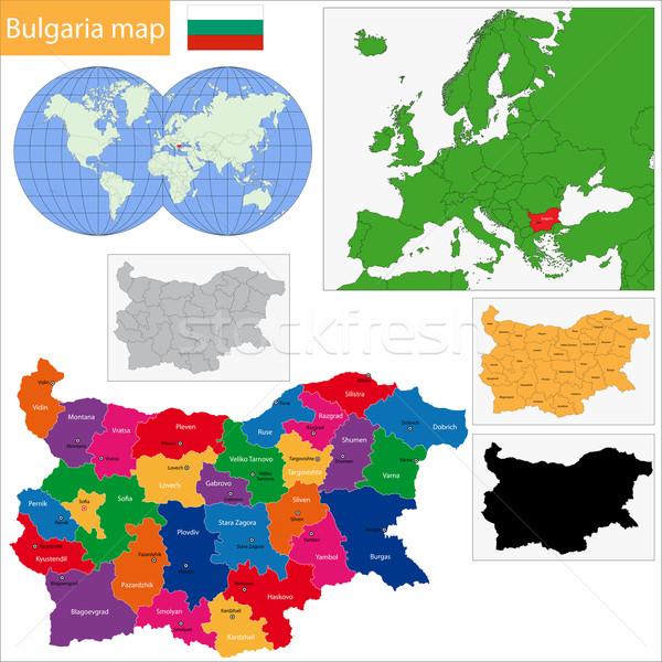 Болгария карта административный силуэта стране Cut Сток-фото © Volina