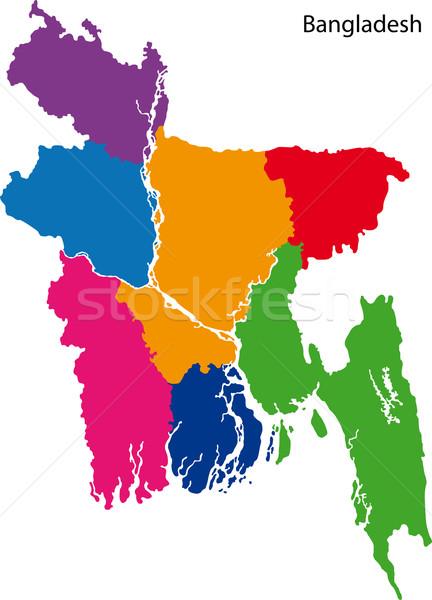 Bangladesch Karte administrative Stadt asian Land Stock foto © Volina