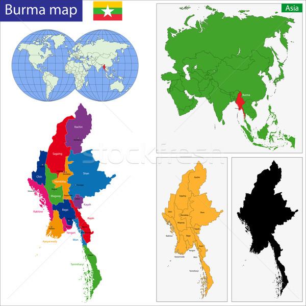Birma kaart unie Myanmar gekleurd heldere Stockfoto © Volina
