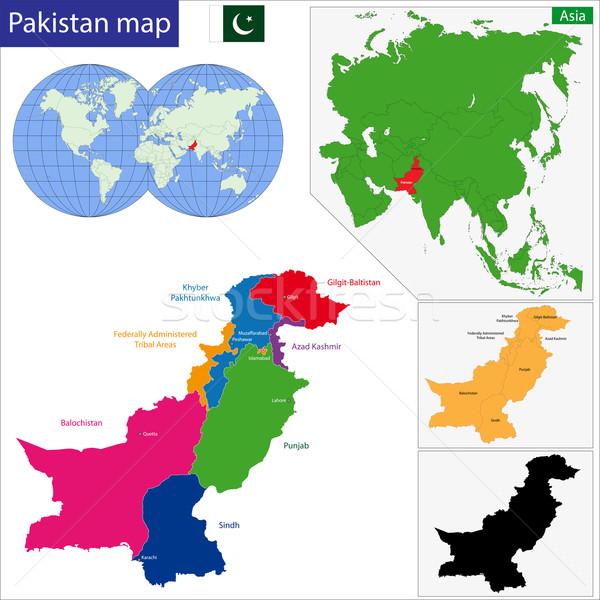 Pakistan kaart gekleurd heldere kleuren stad Stockfoto © Volina