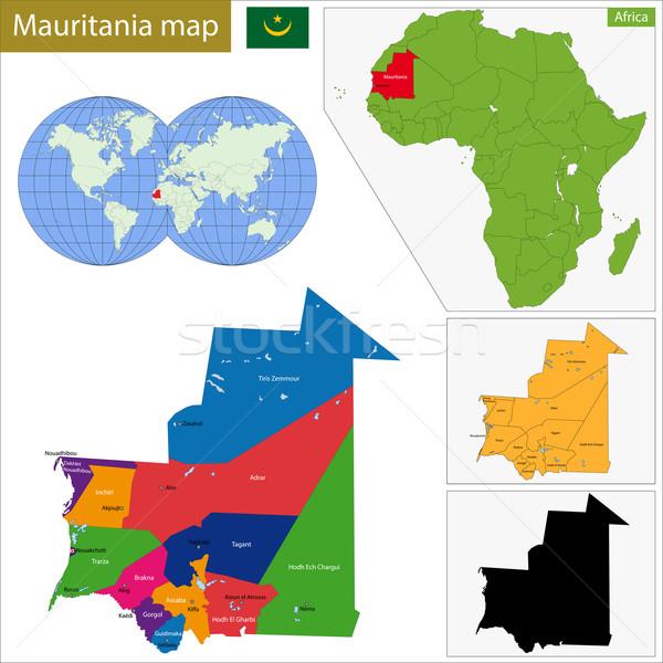 Mauritânia mapa administrativo república África Foto stock © Volina