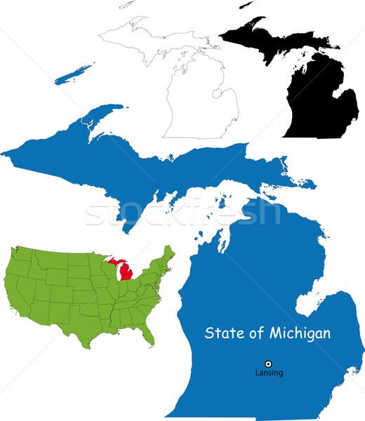 Michigan mappa illustrazione USA sfondo lago Foto d'archivio © Volina