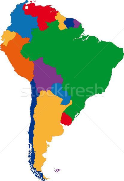 Renkli güney amerika harita ülke dizayn Stok fotoğraf © Volina