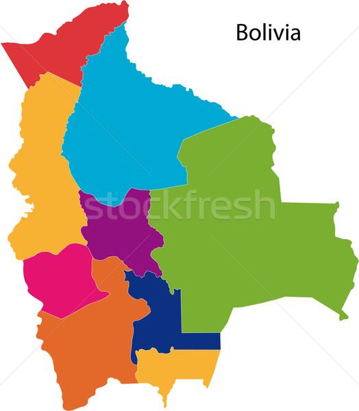 Színes Bolívia térkép régiók terv háttér Stock fotó © Volina