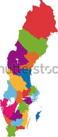 Kleurrijk birma kaart administratief stad asian Stockfoto © Volina
