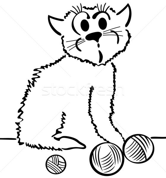 Gato doméstico ilustración Cartoon gato pelota atrás Foto stock © Volina