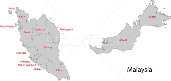 Grey Malaysia map Stock photo © Volina