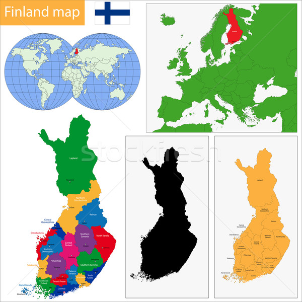 Finlandia mappa colore amministrativa viaggio Europa Foto d'archivio © Volina