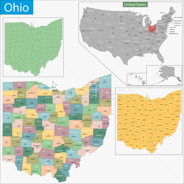 Ohio kaart illustratie USA Washington Verenigde Staten Stockfoto © Volina