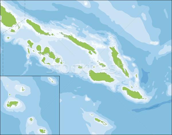 Stock fotó: Térkép · Salamon-szigetek · vidék · hat · szigetek · Óceánia