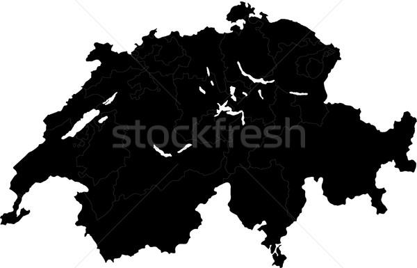 Black Switzerland map Stock photo © Volina