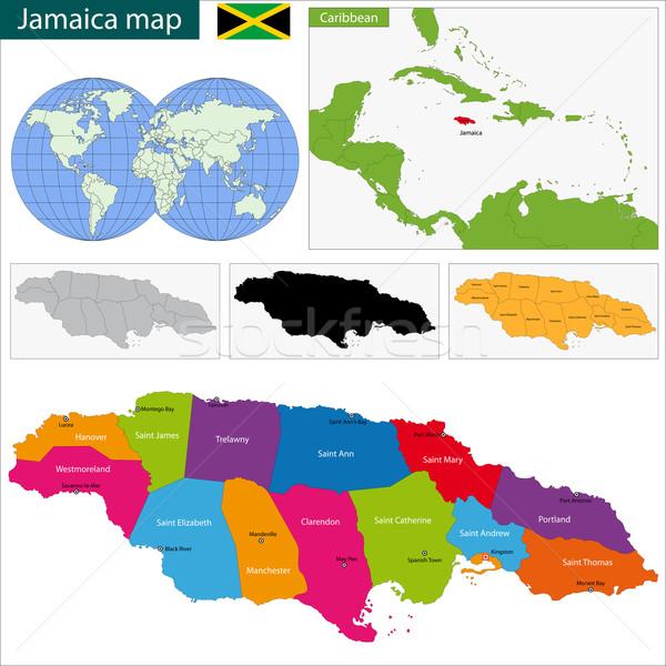 Térkép Jamaica fővárosok szín fehér diagram Stock fotó © Volina