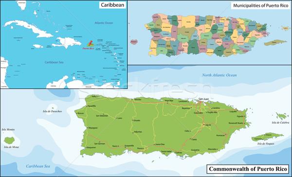 Puerto Rico kaart Verenigde Staten gebied Engels detail Stockfoto © Volina