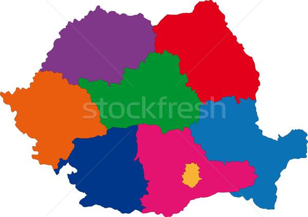 Rumunia Pokaż administracyjny miasta sylwetka Europie Zdjęcia stock © Volina