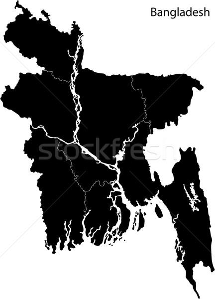Fekete Banglades térkép absztrakt terv diagram Stock fotó © Volina