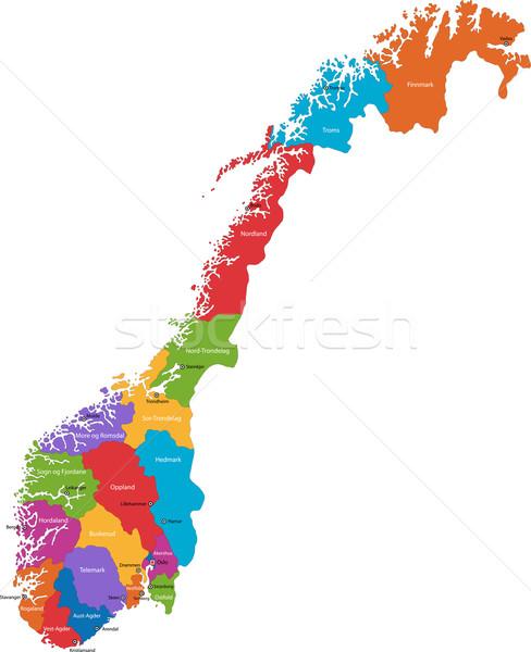 Norvège carte administrative uni ville pays Photo stock © Volina
