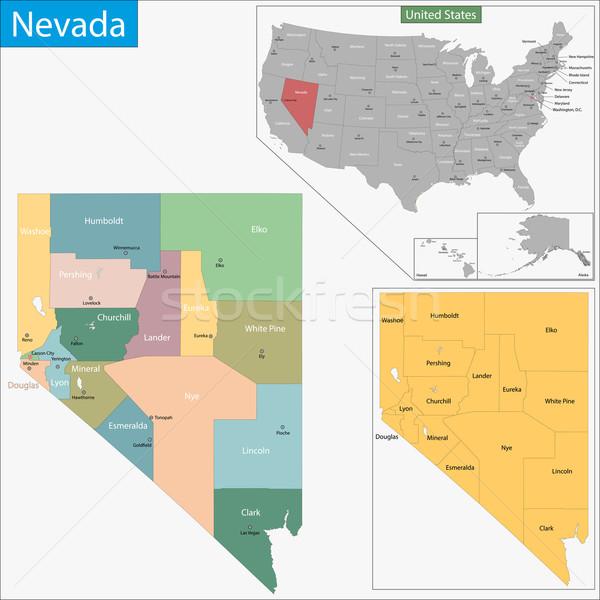 Невада карта иллюстрация западной США Лас-Вегас Сток-фото © Volina