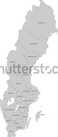 Grijs Zweden kaart administratief koninkrijk stad Stockfoto © Volina