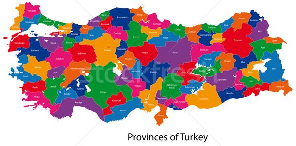 Turquía mapa administrativo ciudad país Asia Foto stock © Volina