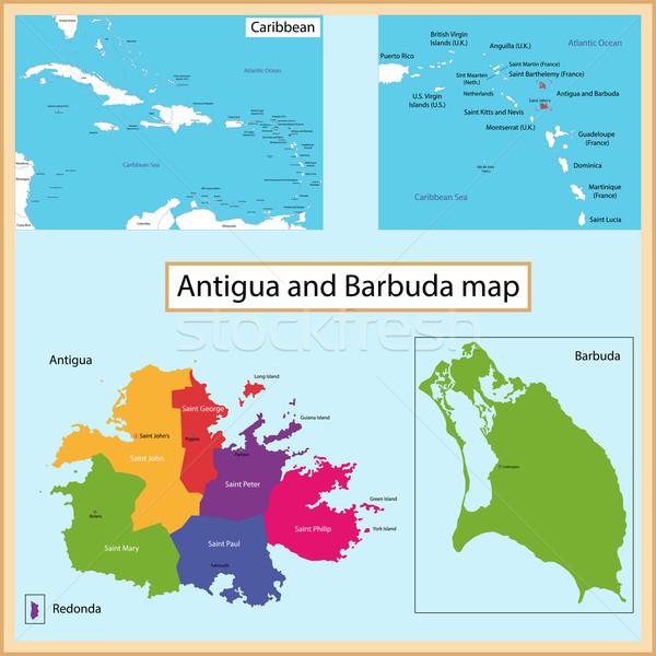 Antigua and Barbuda map Stock photo © Volina
