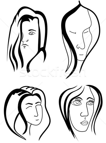 Set of woman faces Stock photo © Volina