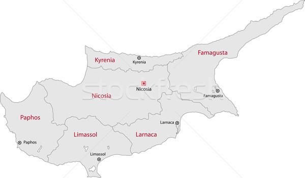 Szürke Ciprus térkép adminisztratív fővárosok számítógép Stock fotó © Volina