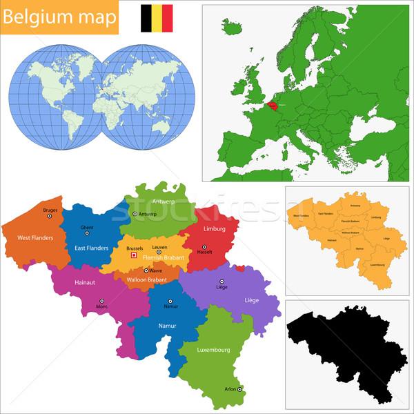 ベルギー 地図 カラフル メイン 都市 シルエット ストックフォト © Volina