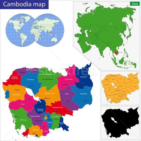 Cambodge carte uni lumineuses couleurs Photo stock © Volina