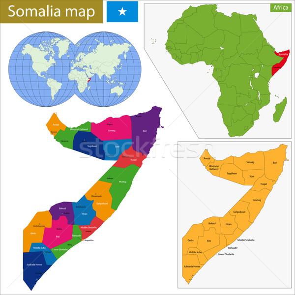 ソマリア 地図 行政の 連邦政府の 共和国 国 ストックフォト © Volina