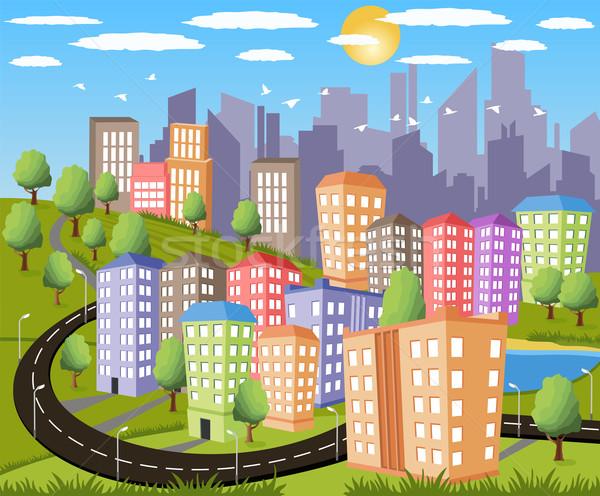 現代 大都市 漫画 実例 カラフル 市 ストックフォト © Volina