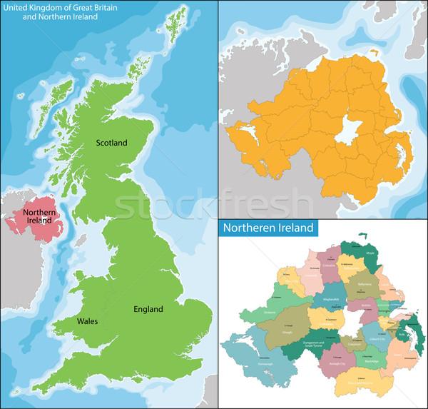 Northern Ireland map Stock photo © Volina