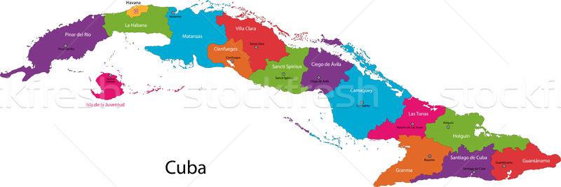 Kuba térkép színes fővárosok szín diagram Stock fotó © Volina