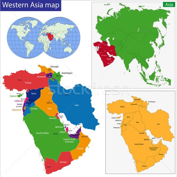 Occidentale Asia mappa colore sfondo vettore Foto d'archivio © Volina