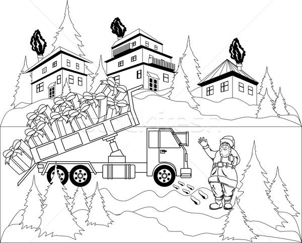 Дед Мороз иллюстрация грузовика подарки город счастливым Сток-фото © Volina