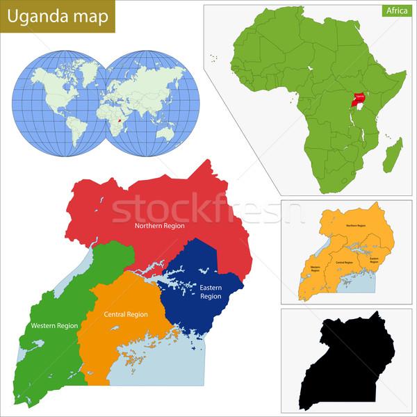 Uganda mapa administrativo república país África Foto stock © Volina