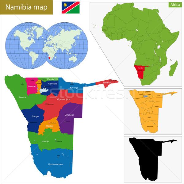 Намибия карта административный федеральный республика африканских Сток-фото © Volina