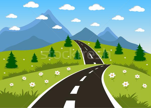 Primavera verão estrada montanha ilustração desenho animado Foto stock © Volina