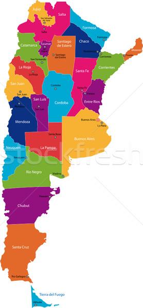 Argentinië kaart administratief technologie achtergrond reizen Stockfoto © Volina