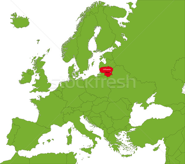 Литва карта расположение город силуэта Европа Сток-фото © Volina