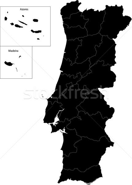 Black Portugal map Stock photo © Volina