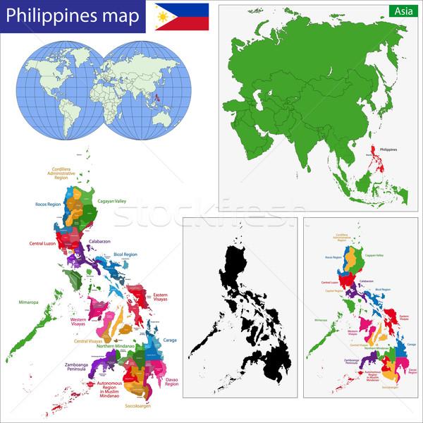 Cumhuriyet Filipinler harita renkli parlak renkler Stok fotoğraf © Volina